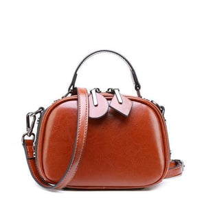 Ladies Small Round Leather Shoulder Bag/ Double Zipper Crossbody Bag Brown Premium Leather