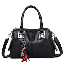 Load image into Gallery viewer, Ladies Vintage Leather Tassel Hand Bag/crossbody Bag Black Premium Leather