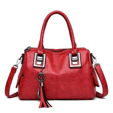 Load image into Gallery viewer, Ladies Vintage Leather Tassel Hand Bag/crossbody Bag Red Premium Leather