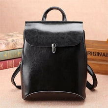 Load image into Gallery viewer, Lady Ocardian Deep Black Leather Backpack/shoulder Cross Body Bag Premium Leather