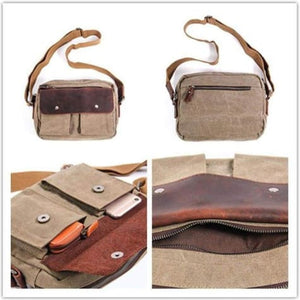 Lakeside Leather & Canvas Shoulder/messenger Bag Premium Leather
