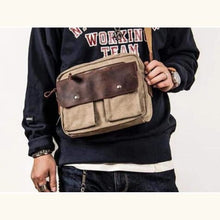 Load image into Gallery viewer, Lakeside Leather & Canvas Shoulder/messenger Bag Premium Leather