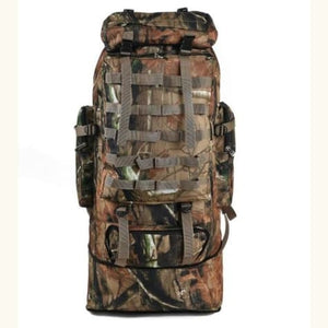 Large Capacity Outdoor Mountaineering Tactical Backpack Brown Camouflage Premium Leather
