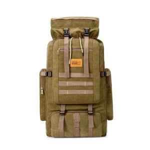 Large Capacity Outdoor Mountaineering Tactical Backpack Khaki Premium Leather