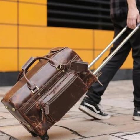 Large Classic Retro Leather Duffel & Luggage Bag