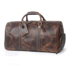 Large Crazy Horse full Grain Leather Travel Duffel Brown2 Premium Leather