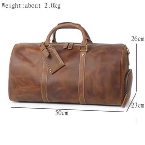 Large Crazy Horse full Grain Leather Travel Duffel Premium Leather