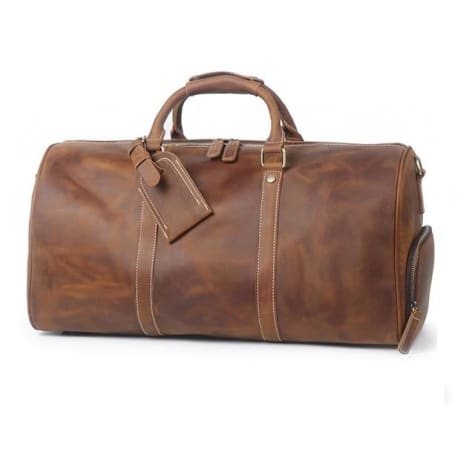 Large Crazy Horse full Grain Leather Travel Duffel Brown1 Premium Leather