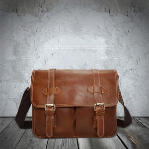 Le Marron full Grain Leather Dslr Camera/messenger Bag Brown Premium Leather