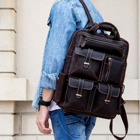 Leather Anti Theft Multifunctional Vintage Saddle Backpack Brown Premium Leather