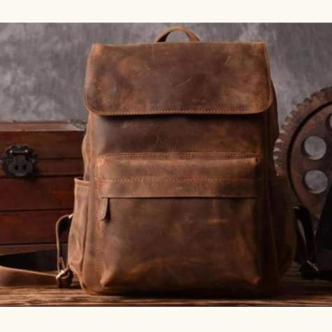 Leather Backpack W/crazy Horse Premium Leather