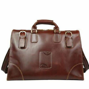 Leather Buckled Duffle/travel & Overnight Bag Brown Premium Leather