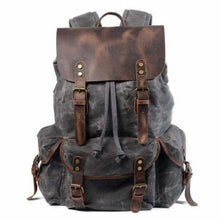 Load image into Gallery viewer, Leather & Canvas Large Capacity Travel Backpack Dark Green Premium Leather