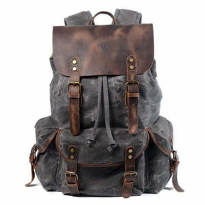 Leather & Canvas Large Capacity Travel Backpack Dark Green Premium Leather