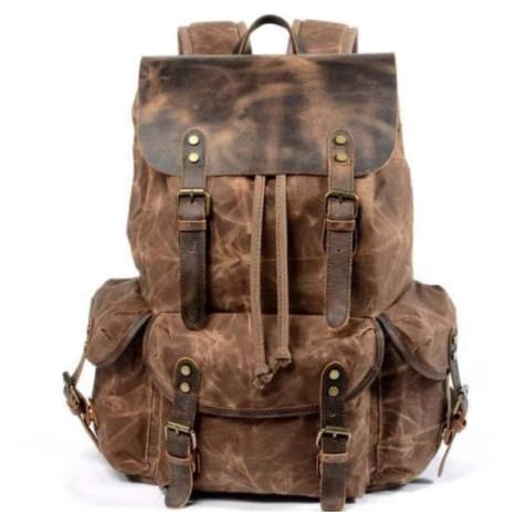Leather & Canvas Large Capacity Travel Backpack Coffee Premium Leather