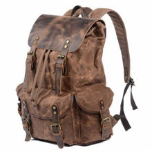 Load image into Gallery viewer, Leather & Canvas Large Capacity Travel Backpack
