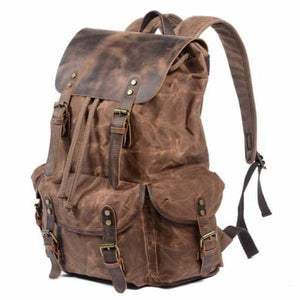 Leather & Canvas Large Capacity Travel Backpack Premium Leather