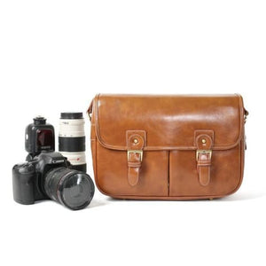 Leather Hunter Photographic Dslr Camera Bag Light Brown Premium Leather