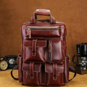Leather Large Capacity Travel Backpack Vintage Laptop Bag Premium Leather