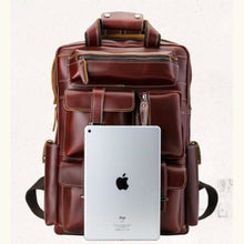Load image into Gallery viewer, Leather Large Capacity Travel Backpack Vintage Laptop Bag Premium Leather