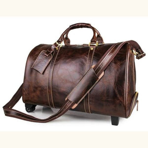 Leather Travel Duffel 20 Trolley Wheeled Rolling Luggage Premium Leather