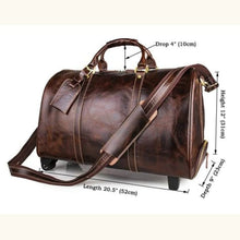 Load image into Gallery viewer, Leather Travel Duffel 20 Trolley Wheeled Rolling Luggage Premium Leather