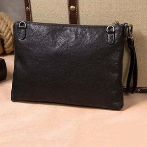 Leather Trendsetter Envelope Messenger Bag & Clutch Black Premium Leather