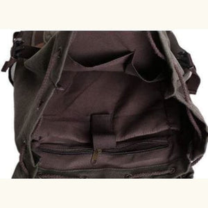 Leather Trim Backpack Travel With Waxed Canvas