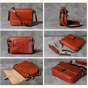 Leather Vegetable Tanned Messenger Bag Premium Leather
