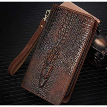 Load image into Gallery viewer, Leather Wallet W/pattern Long Clutch Wrist Bag Premium Leather