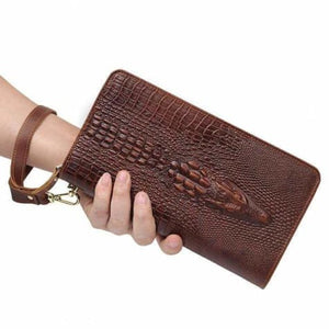 Leather Wallet W/pattern Long Clutch Wrist Bag Premium Leather