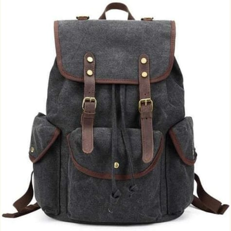 Leather/canvas Backpack For Laptop School And Travel Backpack