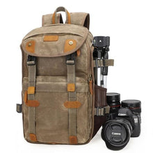 Load image into Gallery viewer, Lowepro Batik Canvas Camera Backpack Large Waterproof Photography Bag Khaki Premium Leather
