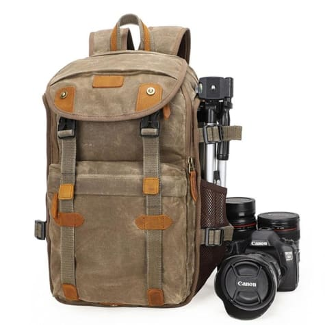 Lowepro Batik Canvas Camera Backpack Large Waterproof Photography Bag Khaki Premium Leather