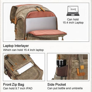Lowepro Batik Canvas Camera Backpack Large Waterproof Photography Bag Premium Leather