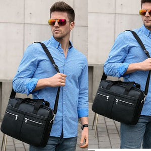 Luxury top Grain Leather Office Briefcase Laptop/shoulder Bag Black
