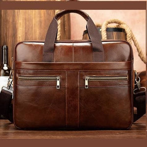 Luxury top Grain Leather Office Briefcase Laptop/shoulder Bag Coffee