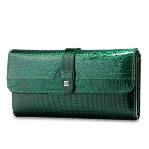 Luxury Tri Fold Leather Large Capacity Clutch Wallet Dark Green Premium Leather