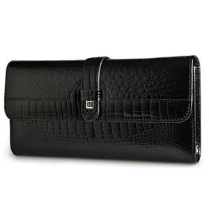 Luxury Tri Fold Leather Large Capacity Clutch Wallet Black Premium Leather