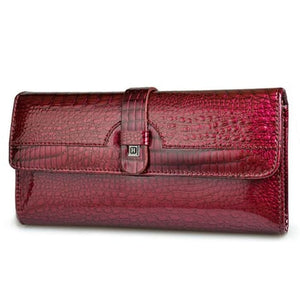 Luxury Tri Fold Leather Large Capacity Clutch Wallet Wine Red Premium Leather