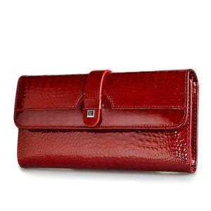 Luxury Tri Fold Leather Large Capacity Clutch Wallet Red Premium Leather