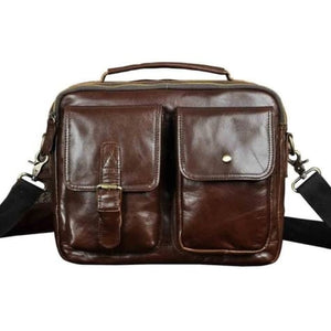 Market Street Leather One Shoulder Messenger Bag Brown Premium Leather