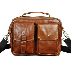 Market Street Leather One Shoulder Messenger Bag Light Brown Premium Leather