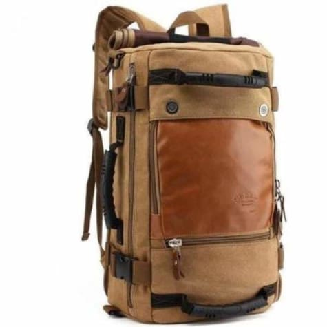 Men's Canvas and Leather Backpack &travel Bag Khaki Premium Leather