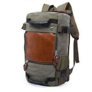 Men's Canvas and Leather Backpack &travel Bag Army Green Premium Leather