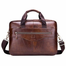 Load image into Gallery viewer, Men's Cowhide Leather Business Messenger/cross Body Bag Brown Premium Leather