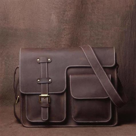 Men's Leather Crazy Horse Messenger Bag & Satchel Premium Leather