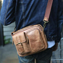 Load image into Gallery viewer, Men's Leather Mensageiro Shoulder Laptop & Crossbody Bag Premium Leather