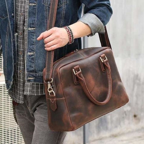 Men's Saddle Leather Messenger/tote Bag Premium Leather