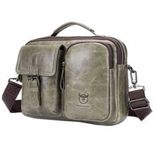 Load image into Gallery viewer, Men's Vintage Bullhide Messenger/crossbody Bag Graygreen Premium Leather